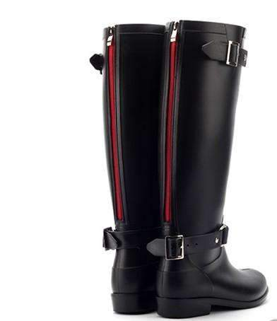 My Envy Shop Black RED / 5 Zipper Tall  Pure Color Rain Boots