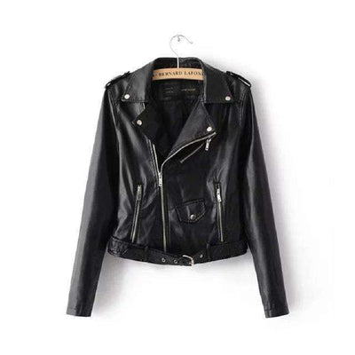My Envy Shop Black / S Spring Fashion Bright Colors Good Quality Ladies Basic Street Women Short PU Leather Jacket FREE Accessories