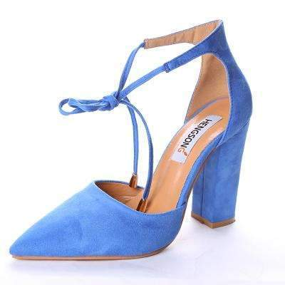 My Envy Shop blue / 6 High Heels Women's Sandals Spring Autumn Flock Shoes