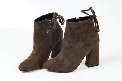 My Envy Shop Brown / 11 Flock Ankle Boots Round Toe Winter