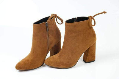 My Envy Shop camel color / 11 Flock Ankle Boots Round Toe Winter