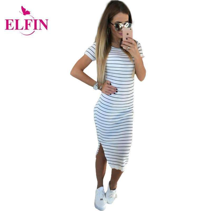My Envy Shop Casual Summer Women Dress Short Sleeve Round Neck Slim Fit Bodycon Dress Striped Side Split T Shirt Womens Dresses  LJ3904R