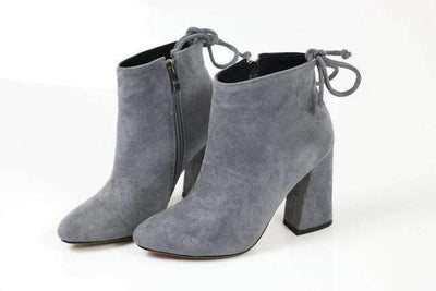 My Envy Shop Dark Grey / 11 Flock Ankle Boots Round Toe Winter
