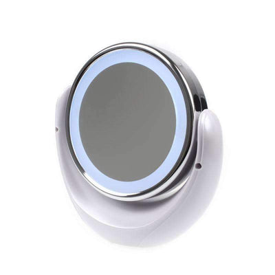 "My Envy Shop Daylight LED 10X Magnifying Makeup Mirror - 8.0"" Large Lighted Travel Vanity Mirror - Dimmable Light, Cordless, Battery Operated, Locking Suction, 360 Rotation, Portable & Illuminated"