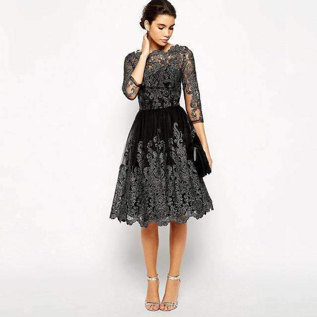 Elegant Women Sliver Embroidery Lace Ball Gown Dress 2018