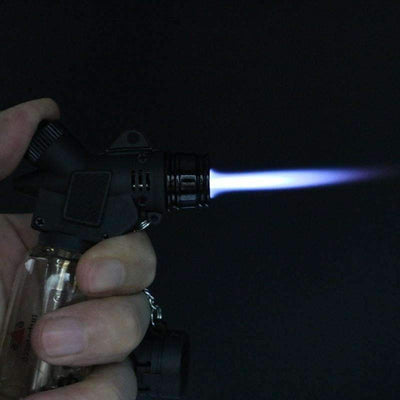 My Envy Shop Dower Windproof Jet 1300-C Butane Lighter  Torch - Black + Transparent NO GAS