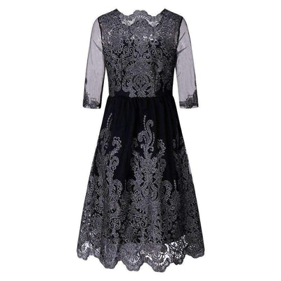 My Envy Shop Elegant Women Sliver Embroidery Lace Ball Gown Dress 2018