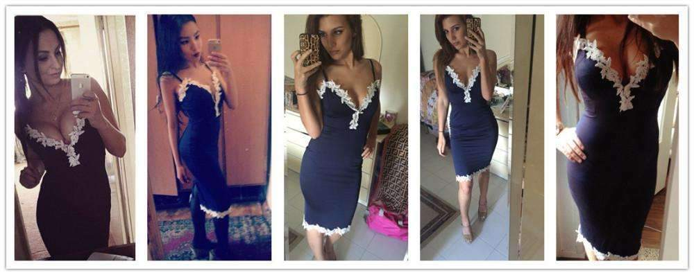 My Envy Shop Feitong 2018 Summer Party Dresses Women Sexy Strappy Deep V  Neck Lace Bodycon b10d2ffb1