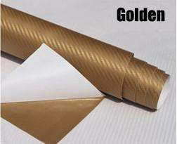 My Envy Shop Gold 3D Carbon Fiber Vinyl Car Wrap Sheet Roll Film,Car Styling Accessories ,30cmx127cm