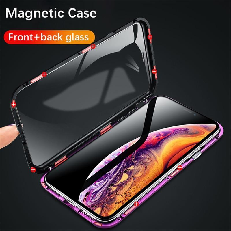 Luxury 360 Degree Full Protection Cover Double sided glass Magnetic case For iPhone