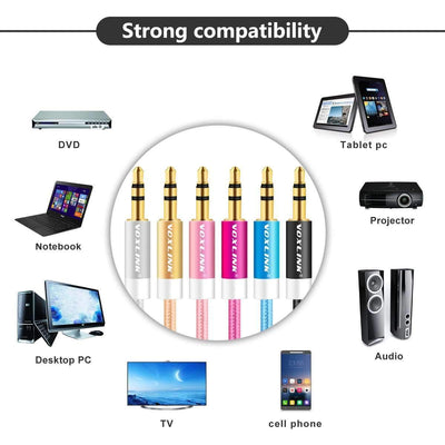 My Envy Shop Gold Plated Plug 3.5mm Aux Cable Line For Car iPhone MP3/MP4 Headphone Speaker