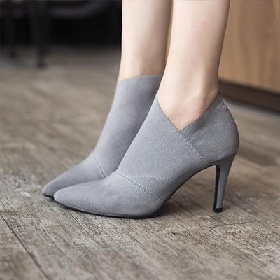 My Envy Shop Gray / 4.5 Pointed Toe High Heels Ankle Boots