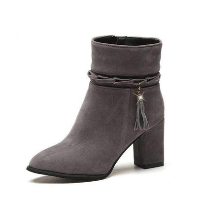 My Envy Shop Gray / 5 suede Women Boots Tassel Ankle Boots