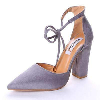 My Envy Shop gray / 6 High Heels Women's Sandals Spring Autumn Flock Shoes