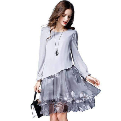 My Envy Shop Gray / L Autumn Female Sweet Party Dresses Vestido Clothing