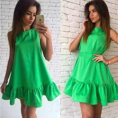 My Envy Shop Green / L Women's Vestidos Sexy Ruffles Dress Summer Sleeveless Casual A Line Bodycon Dress Women Party Plus Size Short Mini Dresses