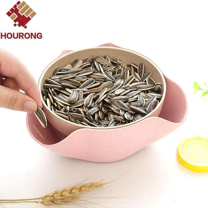 My Envy Shop Hourong 1 set Detachable Wheat Straw  Fruit Plate Storage Disc Dry Fruit Snacks Candy Dish Fruit Bowl Tool Kitchen Gadget