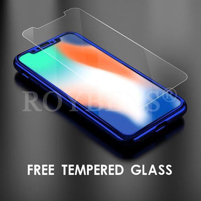 My Envy Shop iphone Blue Luxury Case For iPhone X Mirror Full Protection 360° with FREE Tempered Glass