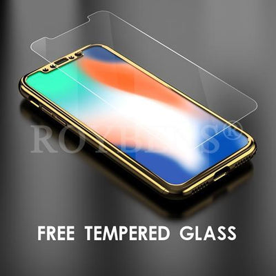 My Envy Shop iphone Gold Luxury Case For iPhone X Mirror Full Protection 360° with FREE Tempered Glass