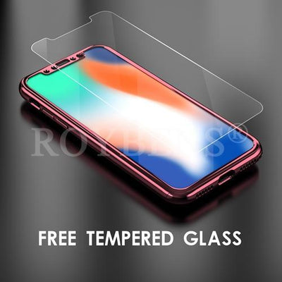My Envy Shop iphone RoseGold Luxury Case For iPhone X Mirror Full Protection 360° with FREE Tempered Glass