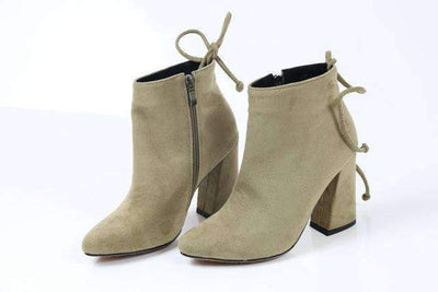 My Envy Shop khaki / 11 Flock Ankle Boots Round Toe Winter