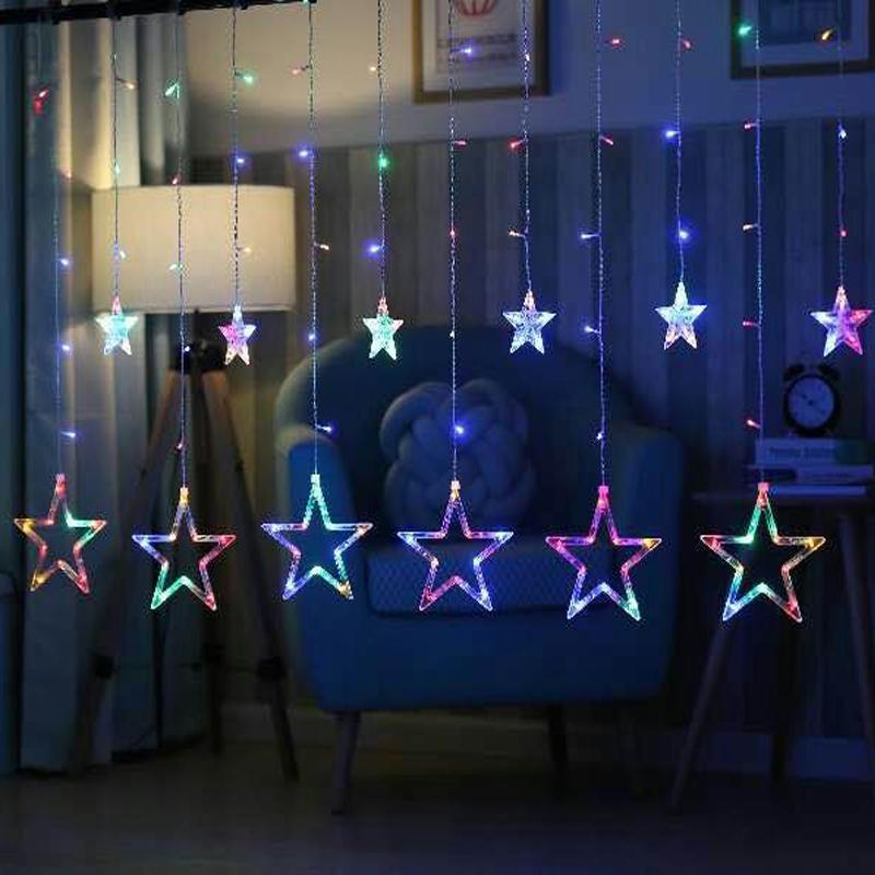 LED Curtain Light String Star Lights Bedroom Decoration Christmas Wedding  Party Lights String