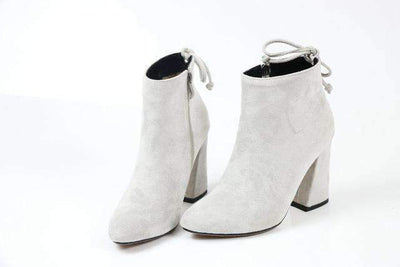 My Envy Shop light gray / 11 Flock Ankle Boots Round Toe Winter