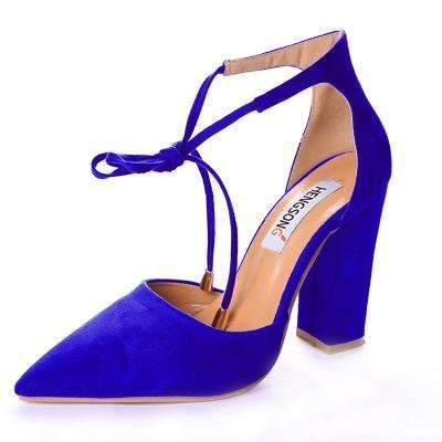 My Envy Shop navy blue / 6 High Heels Women's Sandals Spring Autumn Flock Shoes