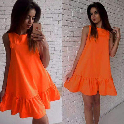 My Envy Shop Orange / L Women's Vestidos Sexy Ruffles Dress Summer Sleeveless Casual A Line Bodycon Dress Women Party Plus Size Short Mini Dresses