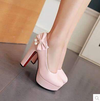 My Envy Shop Pink / 4 high heels with high-heeled shoes with butterfly knot diamond