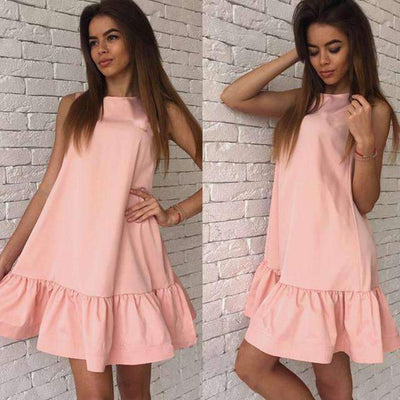 My Envy Shop Pink / L Women's Vestidos Sexy Ruffles Dress Summer Sleeveless Casual A Line Bodycon Dress Women Party Plus Size Short Mini Dresses
