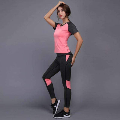My Envy Shop Pink / S Shirt+Pants Breathable Gym Workout Clothes
