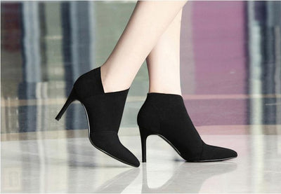 My Envy Shop Pointed Toe High Heels Ankle Boots