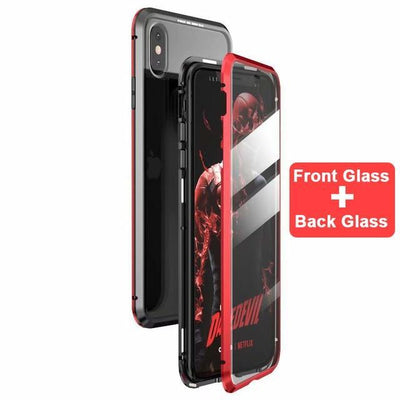 My Envy Shop Red / For iphone 7 8 plus Luxury 360 Degree Full Protection Cover Double sided glass Magnetic case For iPhone