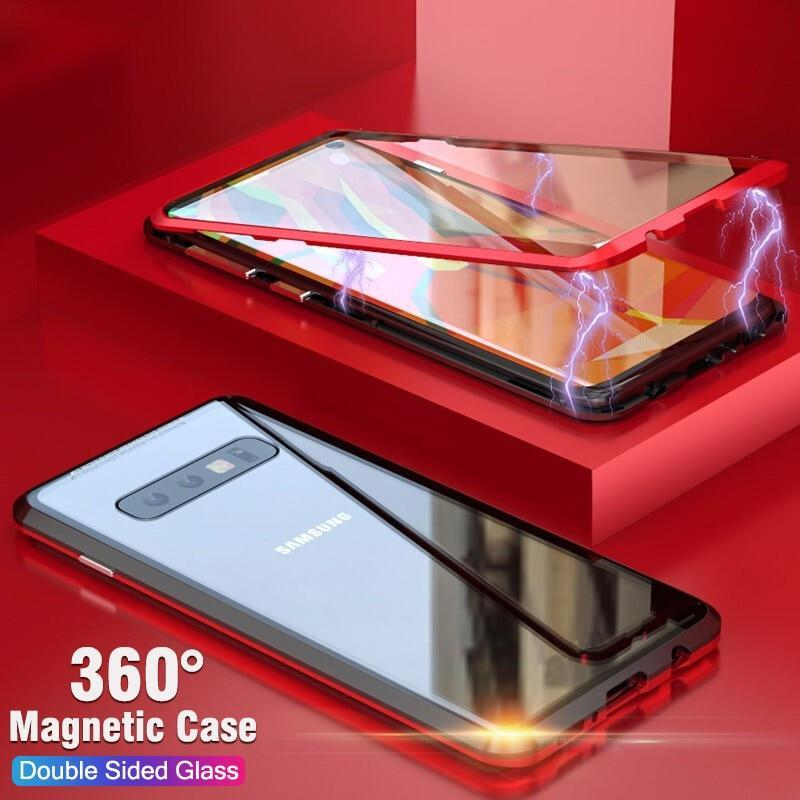 Luxury Double Sided Glass Metal Magnetic Case For Samsung
