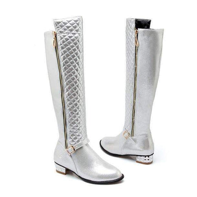 My Envy Shop Silver / 4 Knee High PU Zip Buckle Low Square Heel