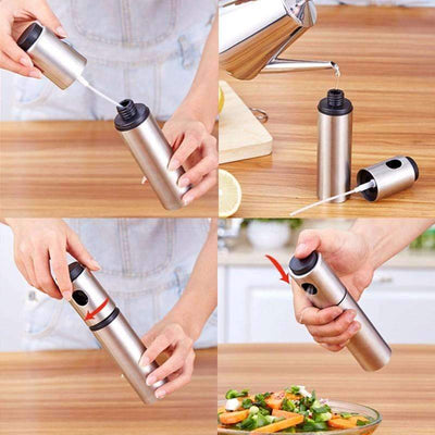 My Envy Shop Silver Stainless Steel Olive Pump Spraying Oil Bottle Sprayer Can Oil Jar Pot Tool Can Pot Cookware Kitchen Tools