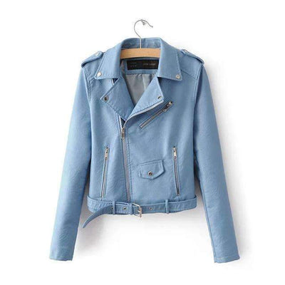 My Envy Shop Sky Blue / S Spring Fashion Bright Colors Good Quality Ladies Basic Street Women Short PU Leather Jacket FREE Accessories