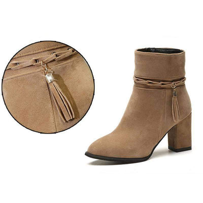 My Envy Shop suede Women Boots Tassel Ankle Boots