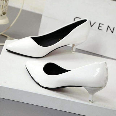 My Envy Shop White  4CM / 4.5 New Fashion high heels women pumps thin heel classic