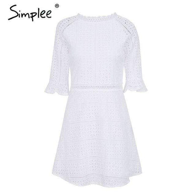 My Envy Shop White / S Simplee Vintage hollow out lace dress