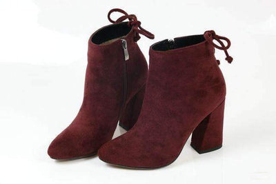 My Envy Shop Wine Red / 11 Flock Ankle Boots Round Toe Winter