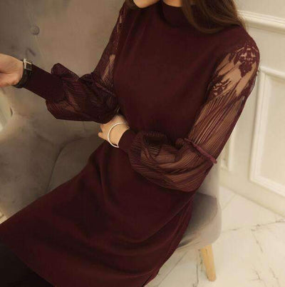 My Envy Shop wine / S New sexy slim lace stitching women dress