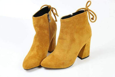 My Envy Shop Yellow / 11 Flock Ankle Boots Round Toe Winter
