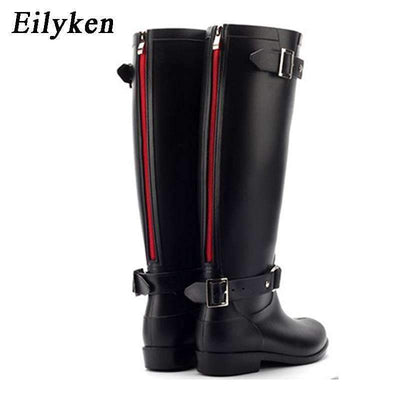 My Envy Shop Zipper Tall  Pure Color Rain Boots