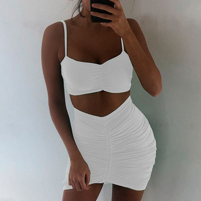 2019 Spring Women Sets 2 Pieces Sets Strapless Bandage Club Sexy Clubwear Party Female Solid Crop Top and Pleated Skirt Mujer