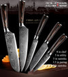 Kitchen Knives Damascus Veins Stainless Steel