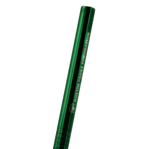 Thin green resusable metal straw