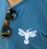 Hummingbird on front of long sleeve t-shirt, designed by Fine Southern Gentlemen