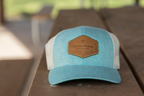 Leather Patch Trucker Hat in blue